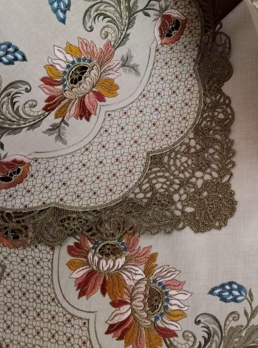 Vente 90x90/'/' rond brodé beige coupe TRAVAIL DE BRODERIE nappe 8 serviettes