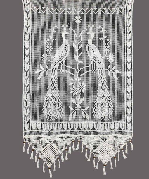Integrerad handgjord traditionell gardin med fågelmönster