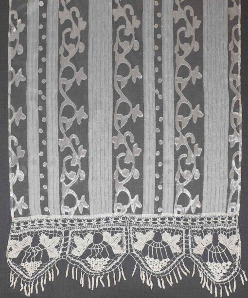 Rideau coulissant traditionnel avec dentelle (blanc)