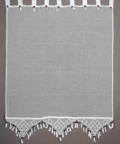 Παραδοσιακή Χειροποίητη Κουρτίνα με Δαντέλα και Κρόσσια