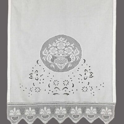Traditional Handmade Curtain with Cut Embroidery and Lace