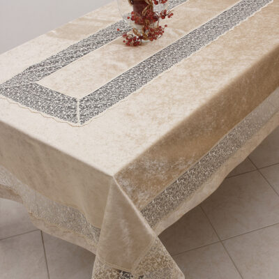 Velvet Tablecloth with Lace (Beige)