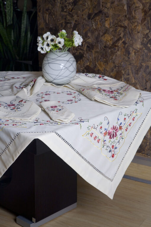 "Embroidered Tablecloth with Azure ""Carnation"" Design"