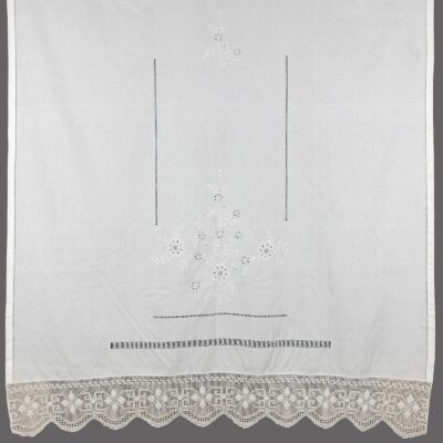 Traditional Handmade Curtain with Azure and Lace