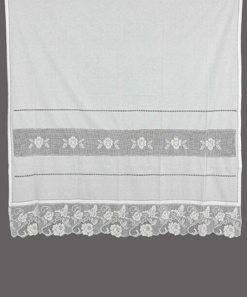 Traditioneller handgemachter Vorhang mit Atrade, Azure und Spitze