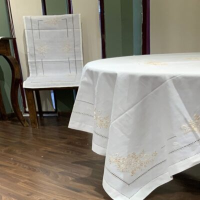 Linen Tablecloth with Machine Embroidery and Handmade Azure