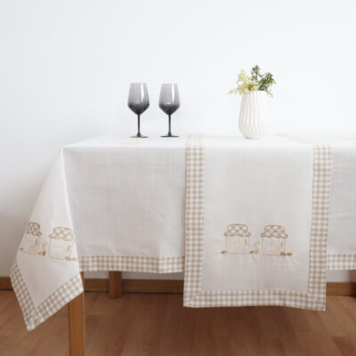 Colored Tablecloth with Machine Embroidery