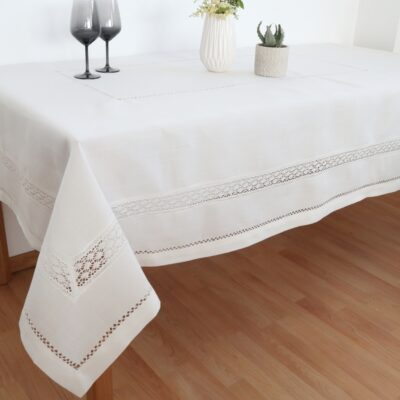 Food Tablecloth with Macrame and Azure