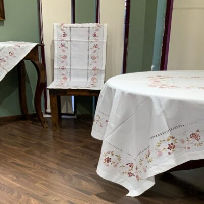 Набор украшений из льна с машинной вышивкой и лазурью ручной работы