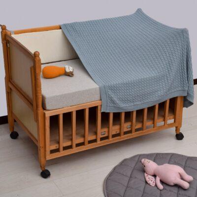 Κουβερτάκι Μωρού Πλεκτό Γκρι-Σιέλ