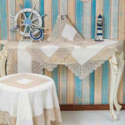 White Linen Frame and Table Frame with Beige Lace