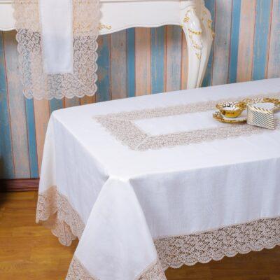 Weiße Leinenfigur Tischdecke mit beige Spitze