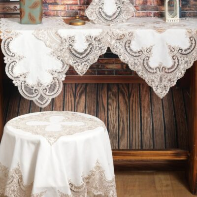 Linen Frame and Table Frame with Silk Lace and Macrame