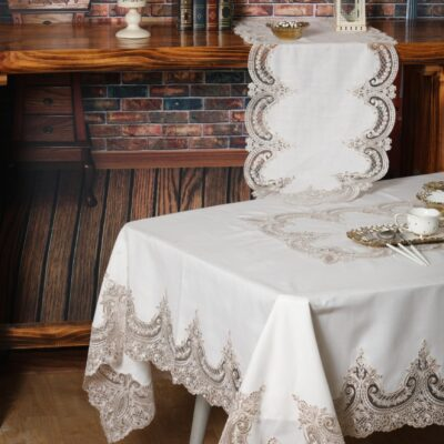 Linen Tablecloth and Traverse with Silk Lace and Macrame