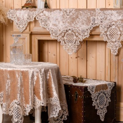 Beige Velvet Tablecloth with Silk Lace and Macrame