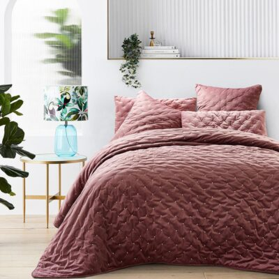 Quilt Quilt en velours de couleur rose