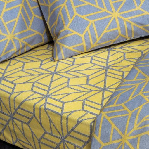Σετ παπλωματοθήκη υπέρδιπλη Sharon Art 1961 230×250 Γκρι,Κίτρινο