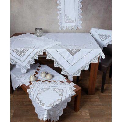 Χειροποίητο Τραπεζομάντηλο Φιγούρας με Πλεκτό Κέντημα και Δαντέλα 170 x 320 Λευκό