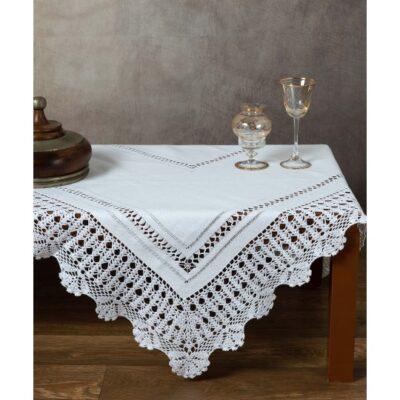 Håndlavet bordstel med blonder 140 x 140 hvid