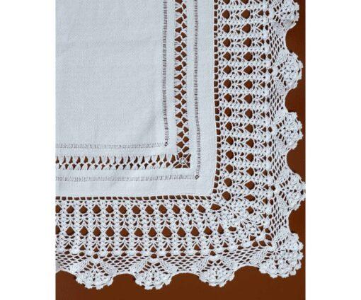 Χειροποίητο Τραπεζοκαρέ με Δαντέλα 140 x 140 Λευκό