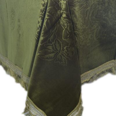 ジャカードデザインのベルベットテーブルクロス180x180オリーブ