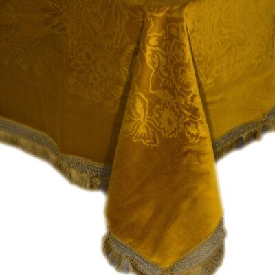 ジャカードデザインのゴールドベルベットテーブルクロス