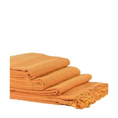 Mantas Juego de 3 piezas Dobby (180 x 180, 180 x 250, 180 x 300) Naranja / Amarillo