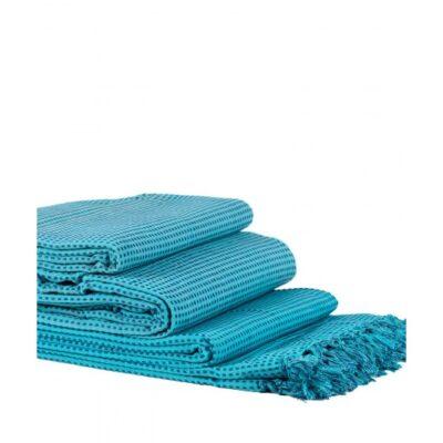 Mantas Juego de 3 piezas Dobby (180 x 180, 180 x 250, 180 x 300) Azul claro