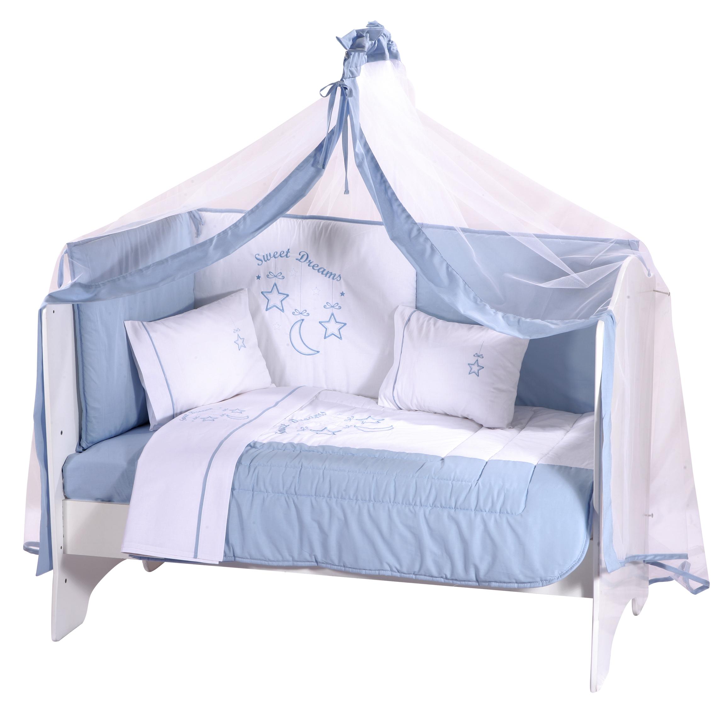 Πικέ Βρεφική Κουβέρτα Sweet Dreams Blue bebe