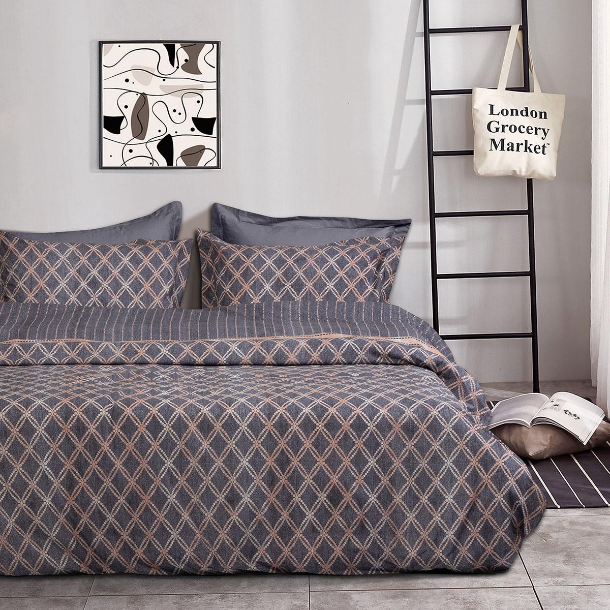 Σετ σεντόνια υπέρδιπλα Atalanta Art 1971 230×240 Γκρι,Μπεζ