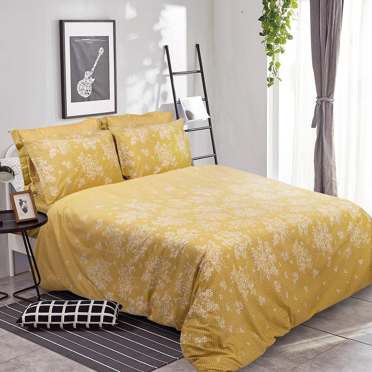 Σετ σεντόνια μονά Scarlet Art 1980 170×240 Κίτρινο