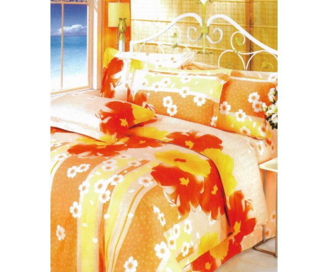 Παπλωματοθήκη μονή με Κατωσέντονο με λάστιχο Joy20 160x240 Πορτοκαλί