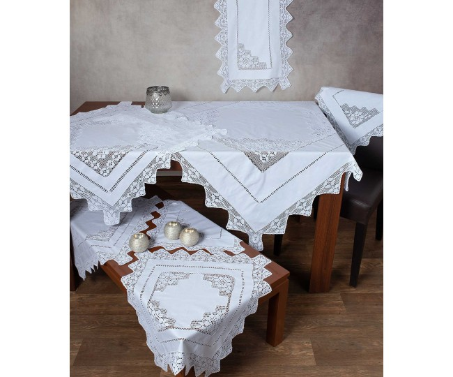 Χειροποίητο Τραπεζομάντηλο Φιγούρας με Πλεκτό Κέντημα και Δαντέλα 170 x 250 Λευκό